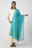 Blue Hand Embroidered Chanderi Dupatta