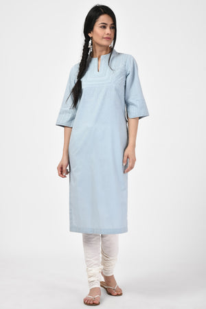 Applique Light Blue Kurta