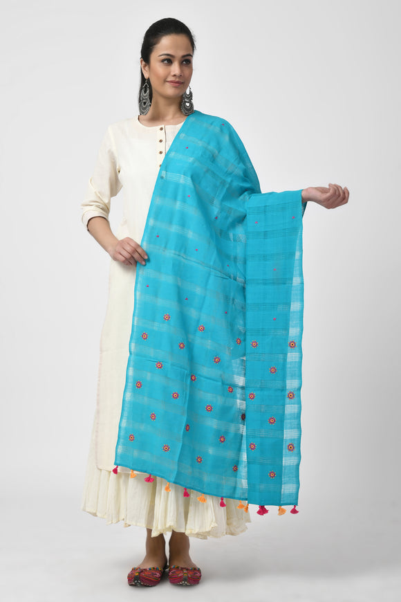 Blue Hand Woven Embroidered Dupatta