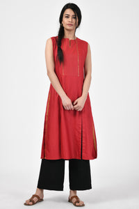 Red Embroidered Tussar Silk A-Line Kurta