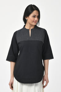 Black Embroidered Hand Woven Top