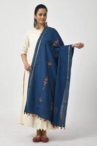 Embroidered Dark Blue Dupatta
