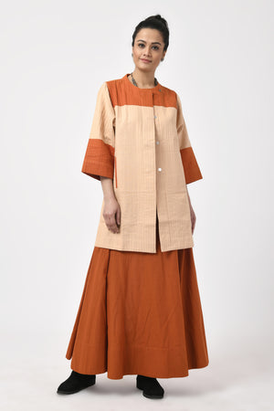 Khadi Beige & Rust Long Jacket
