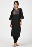 Black Hand Embroidered Cotton Kurta