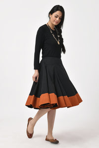 Khadi Black & Rust Mid Length Skirt