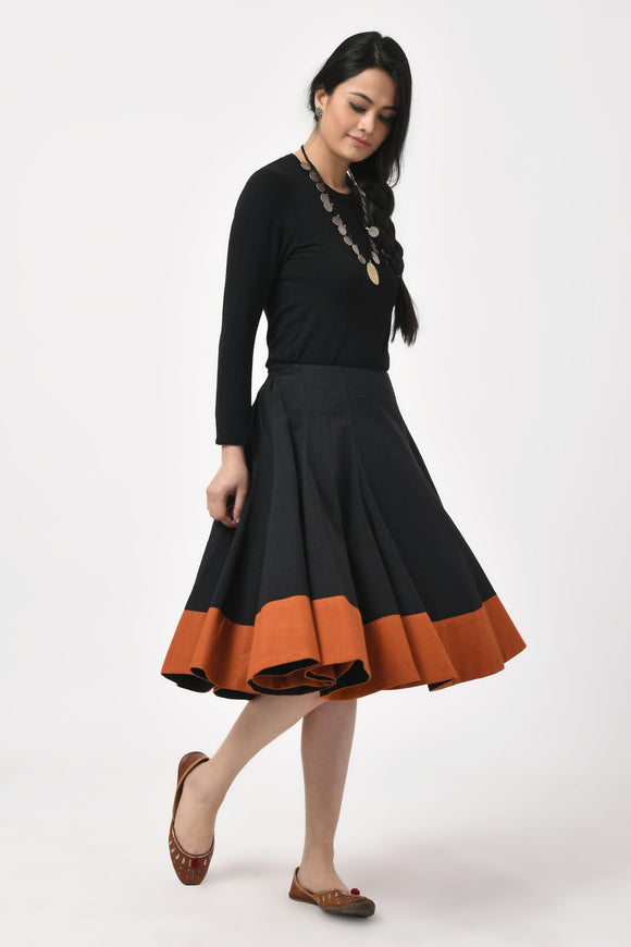 Black Hand Woven Cotton Skirt