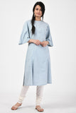 Light Blue Applique Cotton Kurta