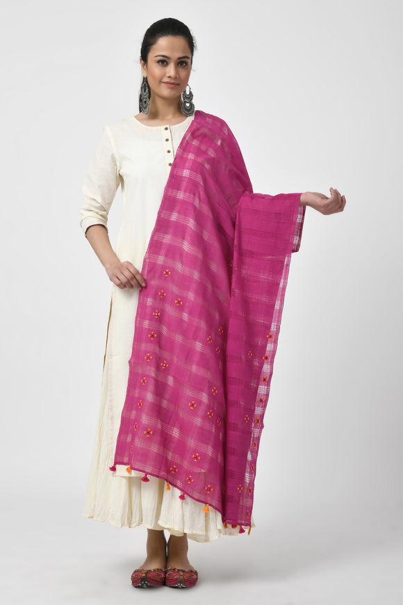 Magenta Hand Woven Embroidered Dupatta