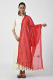 Red Hand Embroidered Chanderi Dupatta