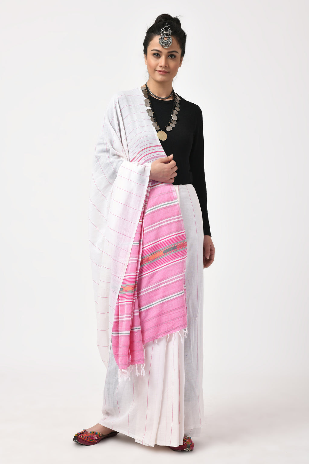 Extra Weft Black White & Pink Saree