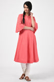 Peach BTC Applique Anarkali