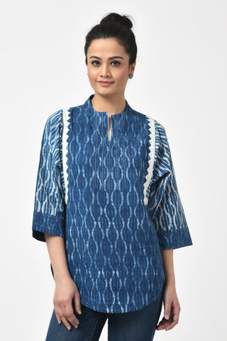 Indigo Block Print & Applique Cotton Top