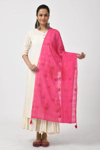 Pink Hand Woven Embroidered Cotton Dupatta