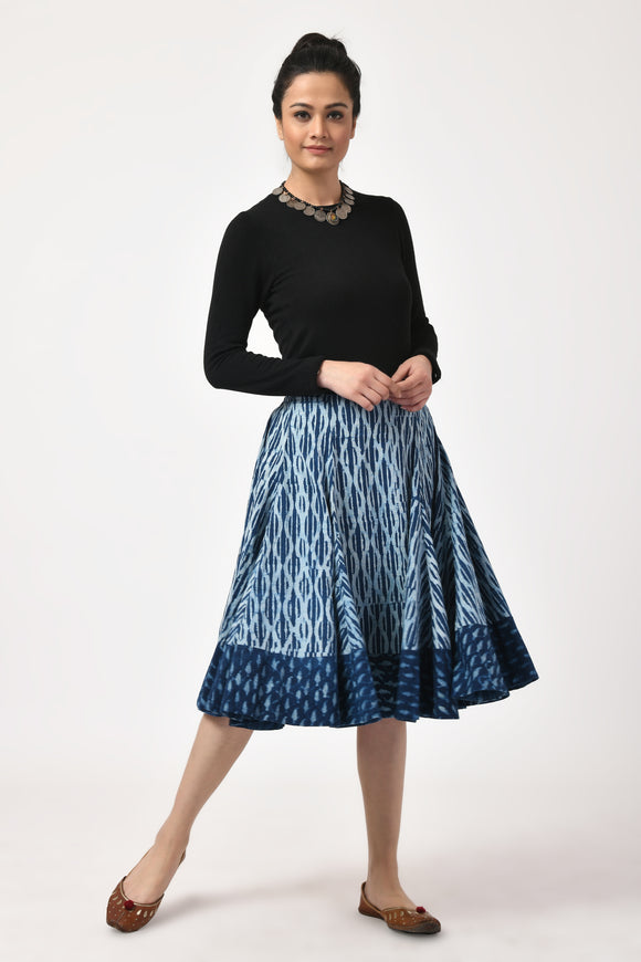 Indigo Block Print Cotton Skirt