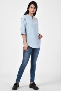 Applique Light Blue Top