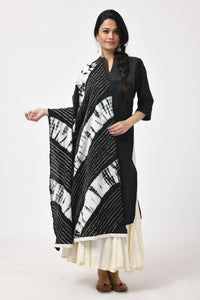 Black Bandhej Cotton Dupatta