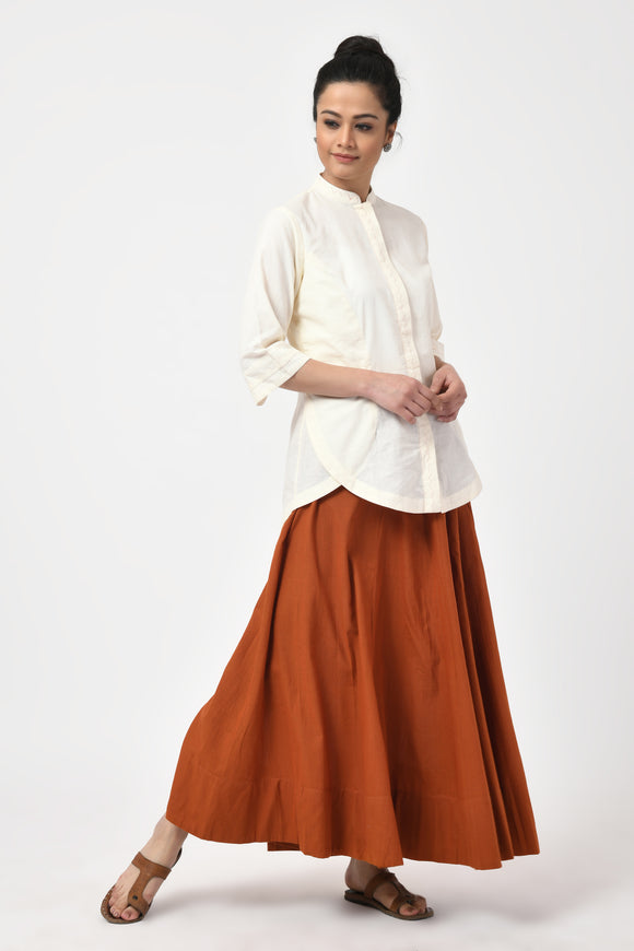 Rust Hand Woven Cotton Long Skirt