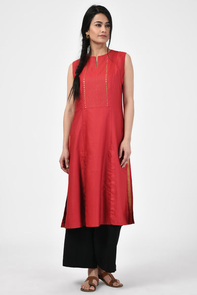 Red Embroidered Silk A-Line Kurta