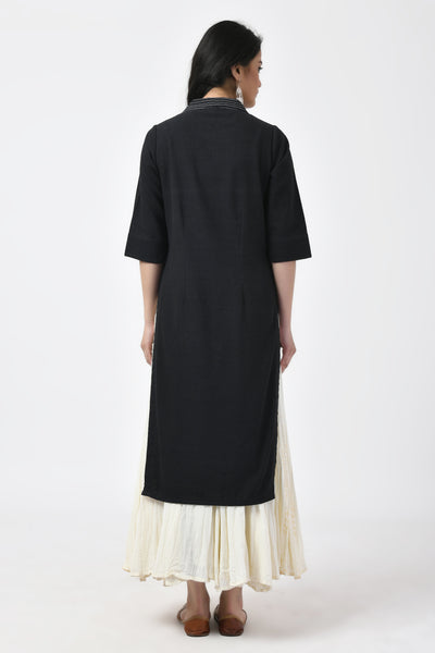 Black Hand Woven Cotton Kurta
