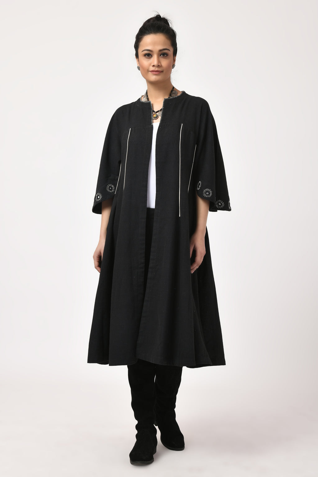 Mirror Work Black & White Long Jacket