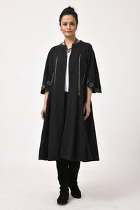 Black Hand Woven Mirror Embroider Trench Jacket