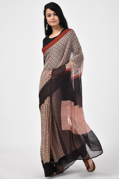 Bagru Handblock Printed Black & Red Saree