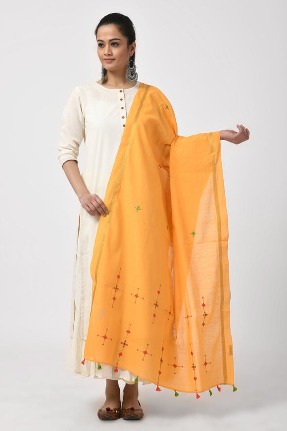 Yellow Hand Woven Embroidered Dupatta