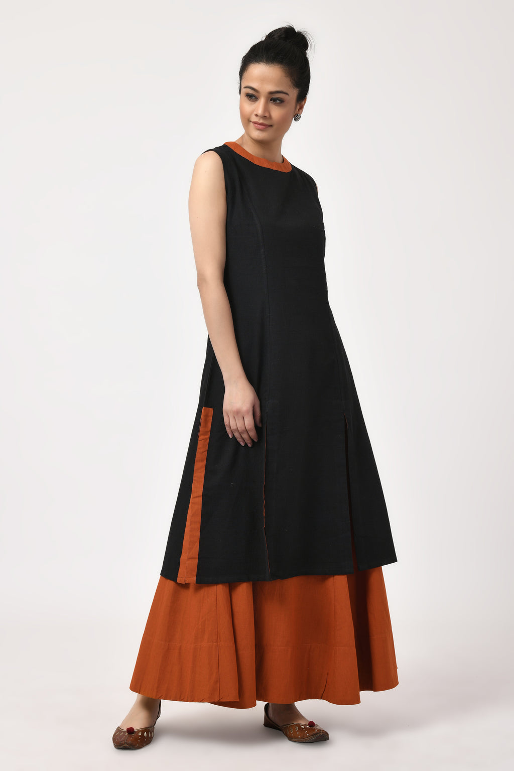 Khadi Black & Rust Sleeveless Kurta