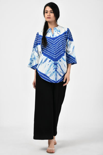 Blue Bandhej Cotton Top