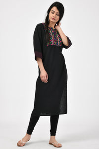 Hand Embroidered Black Kurta
