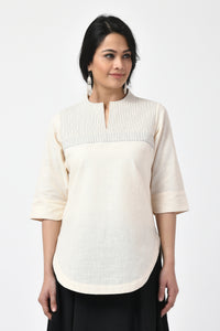 Ivory Embroidered Hand Woven Top
