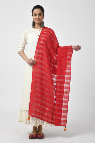 Embroidered Red Dupatta