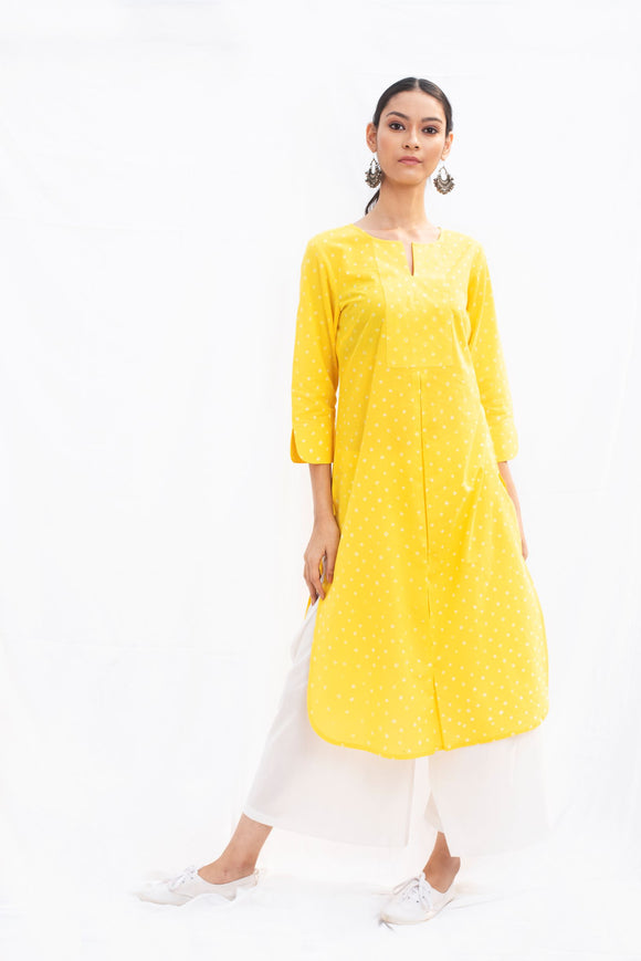 Yellow Bandhej Cotton Kurta