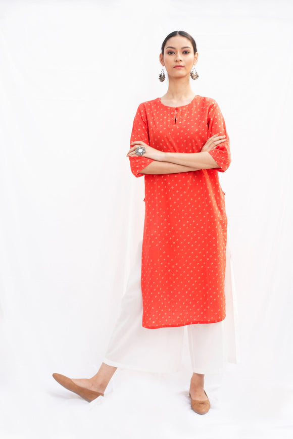 Red Bandhej Cotton Kurta