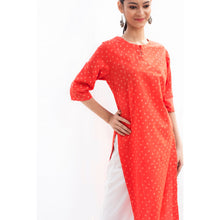 Load image into Gallery viewer, Red Bandhej Cotton Kurta