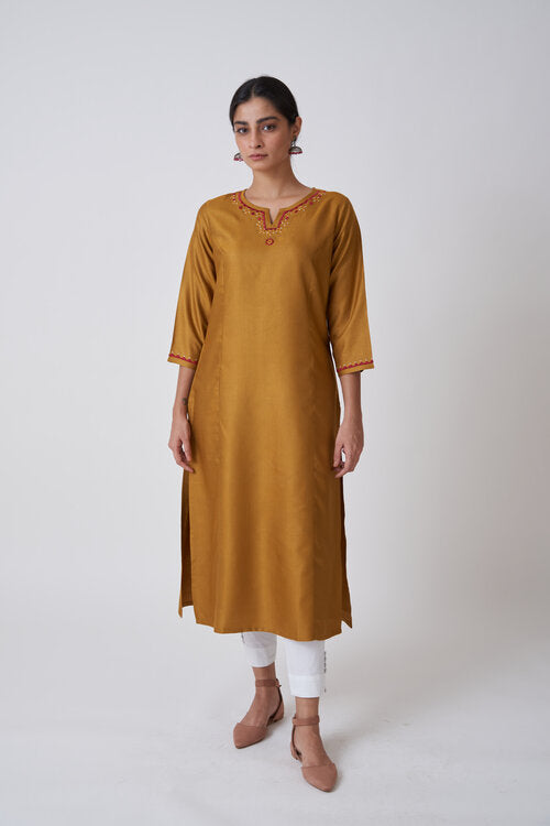 Golden Mustard Round Neck Embroidered Kurta With Princess Seam