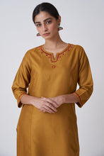 Load image into Gallery viewer, Golden Mustard Round Neck Embroidered Kurta With Princess Seam