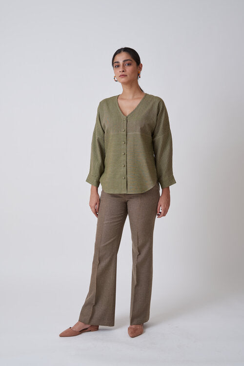 Olive V neck Top with Drop Shoulders
