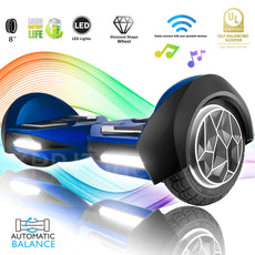 X1 - 8 Inch Blue Hoverboard Longer Battery and UL Certified