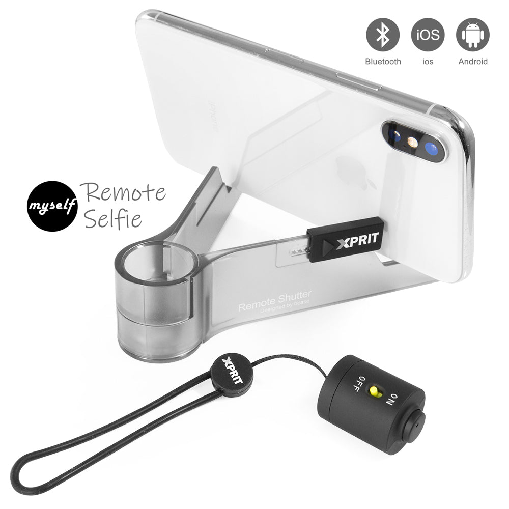 XPRIT Bluetooth Remote Shutter for iOS and Android with Wrist Strap and Phone Holder