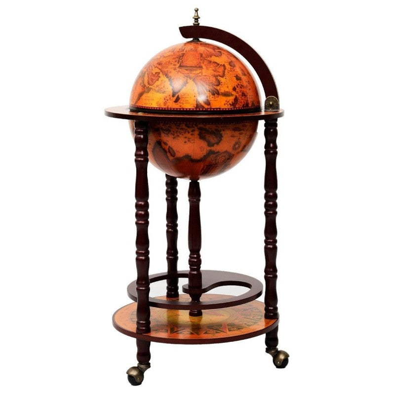 Wood Globe Wine Bar Stand