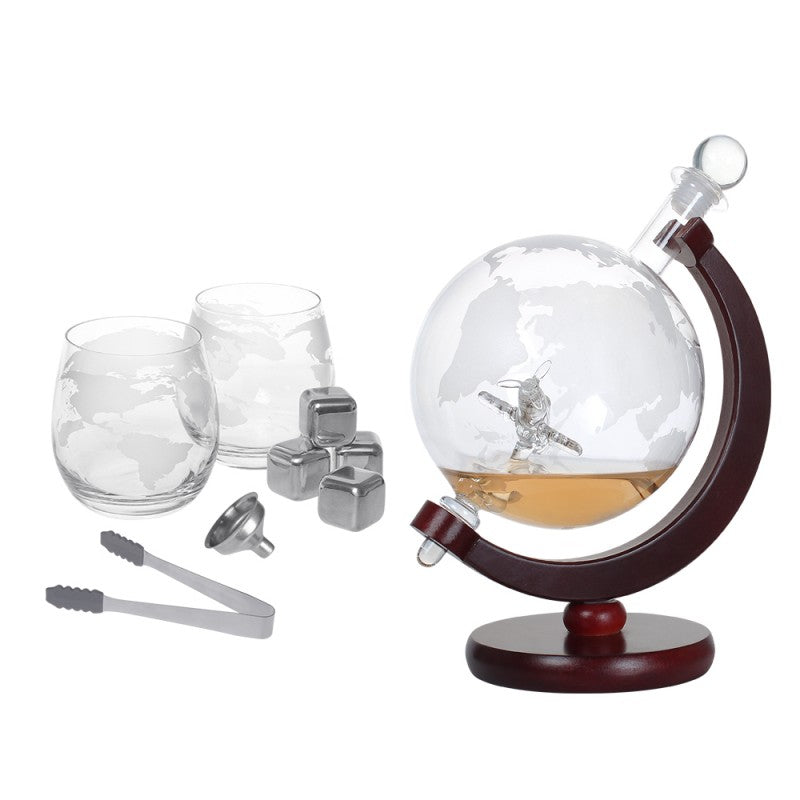 Whiskey Decanter Set with Crafted Glass Airplane