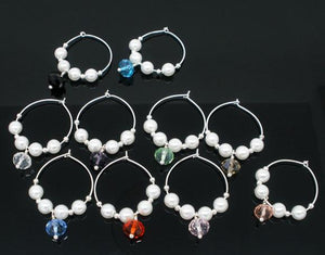 Faux Pearl Wine Glass Charms