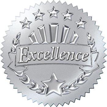 Award Seals Stickers - Excellence (Silver)
