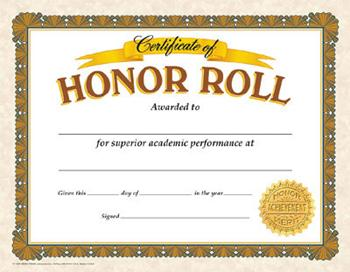 Classic Certificates - Honor Roll
