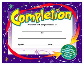 Colorful Classics Certificates - Certificate Of Completion