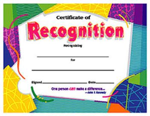 Colorful Classics Certificates - Certificate Of Recognition