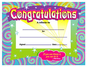Colorful Classics Certificates - Congratulations/Swirls