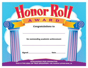 Colorful Classics Certificates - Honor Roll Award