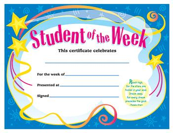 Colorful Classics Certificates - Student Of The Week